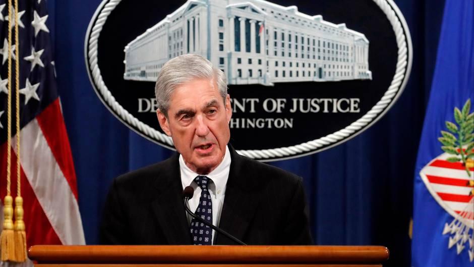 US-Sonderermittler Robert Mueller spricht im US-Justizministerium zu den Ermittlungen gegen Donald Trump