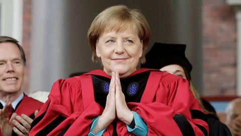 Bundeskanzlerin Angela Merkel bei der Verleihung der Ehrendoktorwürde der Harvard-Universität
