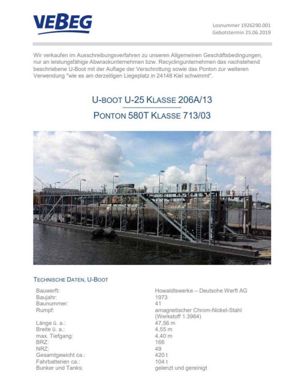 Vebeg: Bundesmarine versteigert U-Boot an Höchtsbietenden