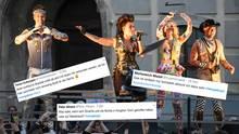 """Die Vengaboys performen ihren 20 Jahre alten Hit """"We're Going To Ibiza"""" auf dem Ballhofplatz in Wien,der im Zugeder österreichischen Regierungskrise rund um ein heimlich auf Ibiza aufgenommenes Video mit Ex-Vizekanzler Stracheerneut die Charts gestürmt hat."""