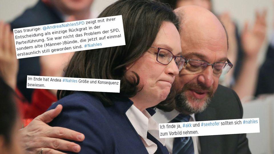 Andrea Nahles undMartin Schulz sitzen beim SPD-Sonderparteitag 2018 zusammen