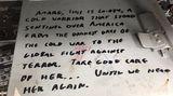 Die letzte Besatzung lies diese Notiz zurück.