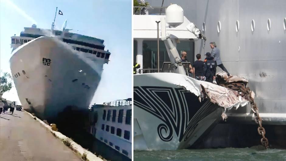 Das Kreuzfahrtschiff MSC Opera hat an einem Dock in Venedig die Kontrolle verloren und ein Touristenboot gerammt..