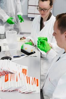 Bis zu 7000 Briefe mit Probenstäbchen möglicher Spender kommen täglich im Labor an. Die Einsender haben mit den Stäbchen an der Wangeninnenseite entlanggerieben. Aus den Schleimhautzellen werden bestimmte Gewebemerkmale bestimmt: Sie sind ausschlaggebend, um für einen Leukämie-Kranken einen Spender zu ermitteln.