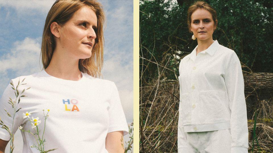Frau mit T-Shirt und Hosenanzug