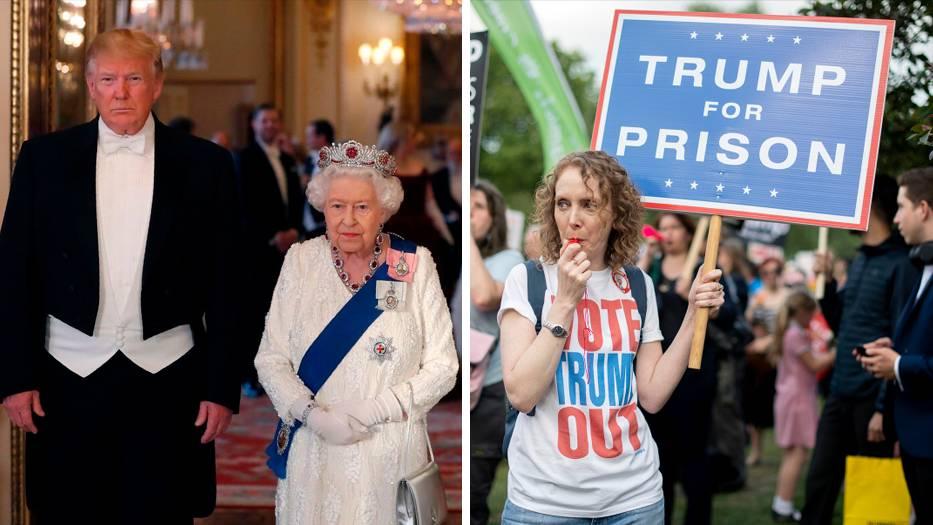 Menschen demonstrieren vor dem Buckingham Palace gegen den Staatsbesuch von US-Präsident Trump. US-Präsident Trump ist auf einem dreitägigen Staatsbesuch in Großbritannien.