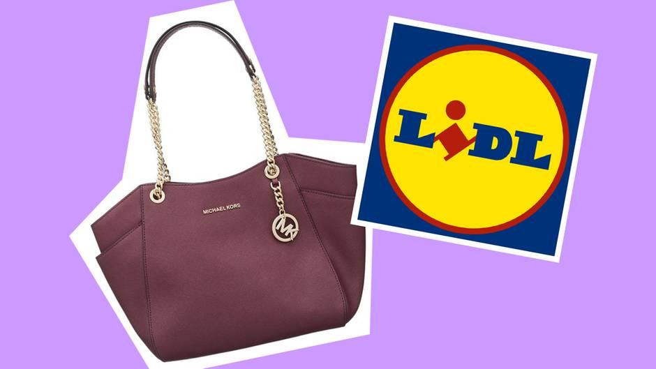 Eine Michael-Kors-Tasche neben dem Logo des Discounters Lidl