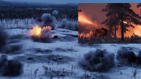 Militärübung: Unglaubliche Aufnahmen - Drohne fliegt durch Raketenhagel