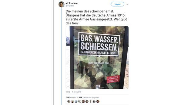 Ein Tweet zeigt die Kampagne der Bundeswehr