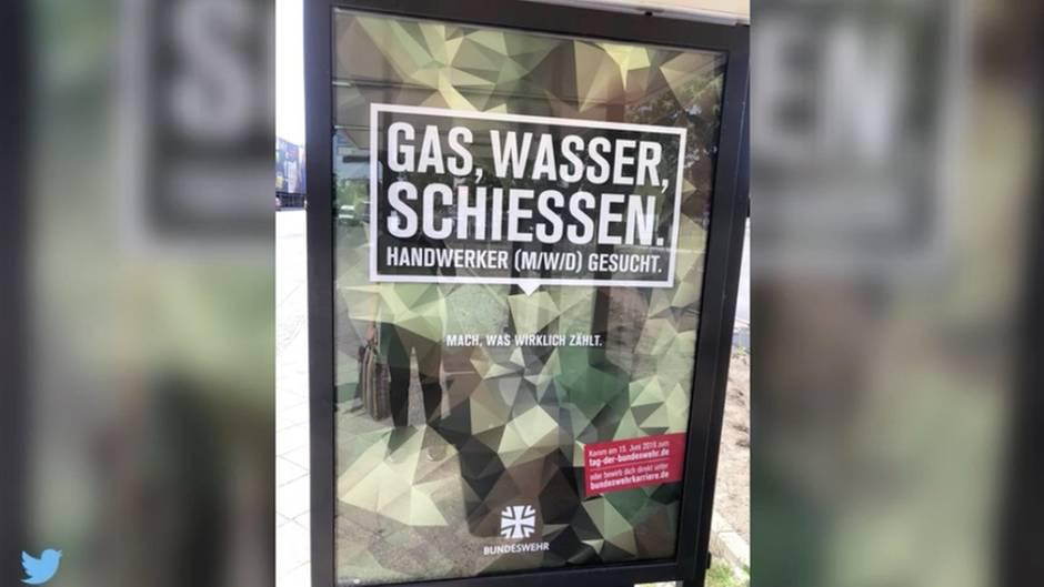 """""""Gas, Wasser, Schießen."""": """"Wer gibt das frei?"""" - Bundeswehr sorgt mit neuen Werbeplakaten für Kritik"""