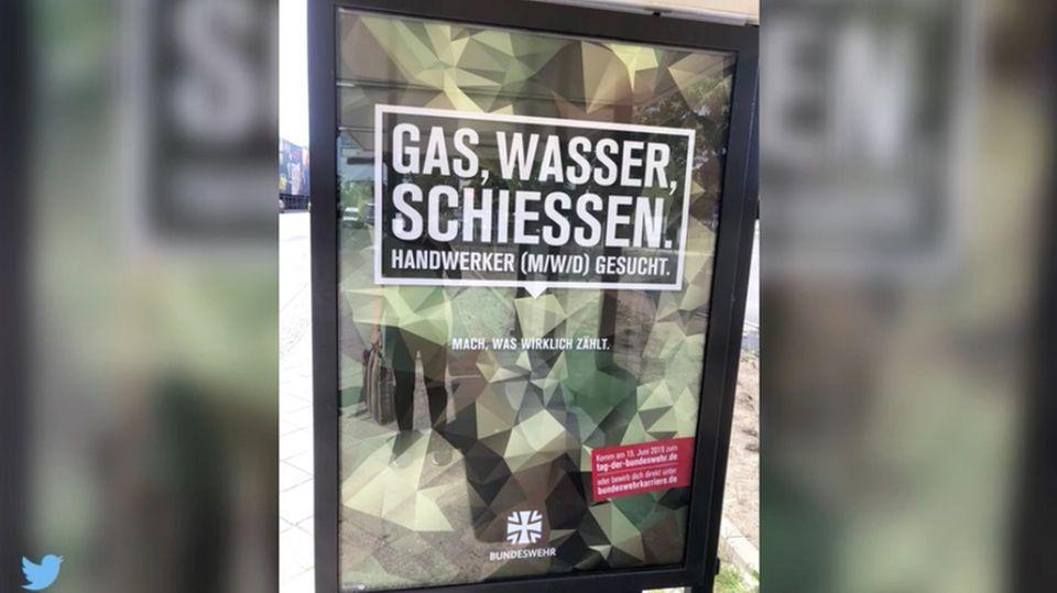 """Reaktionen auf Plakat: """"Gas, Wasser, Schiessen"""" – Werbekampagne der Bundeswehr sorgt für Diskussionen"""