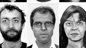 UndatierteHandouts des KA zeigen Fahndungsfotos (oben) und Alterssimulationen (unten) von Burkhard Garweg (l-r), Ernst-Volker Wilhelm Staub und Daniela Klette