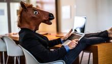 Mann mit Pferdemaske vor Laptop