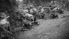 Alliierte Soldaten suchen Schutz hinter Wall und Hecke.
