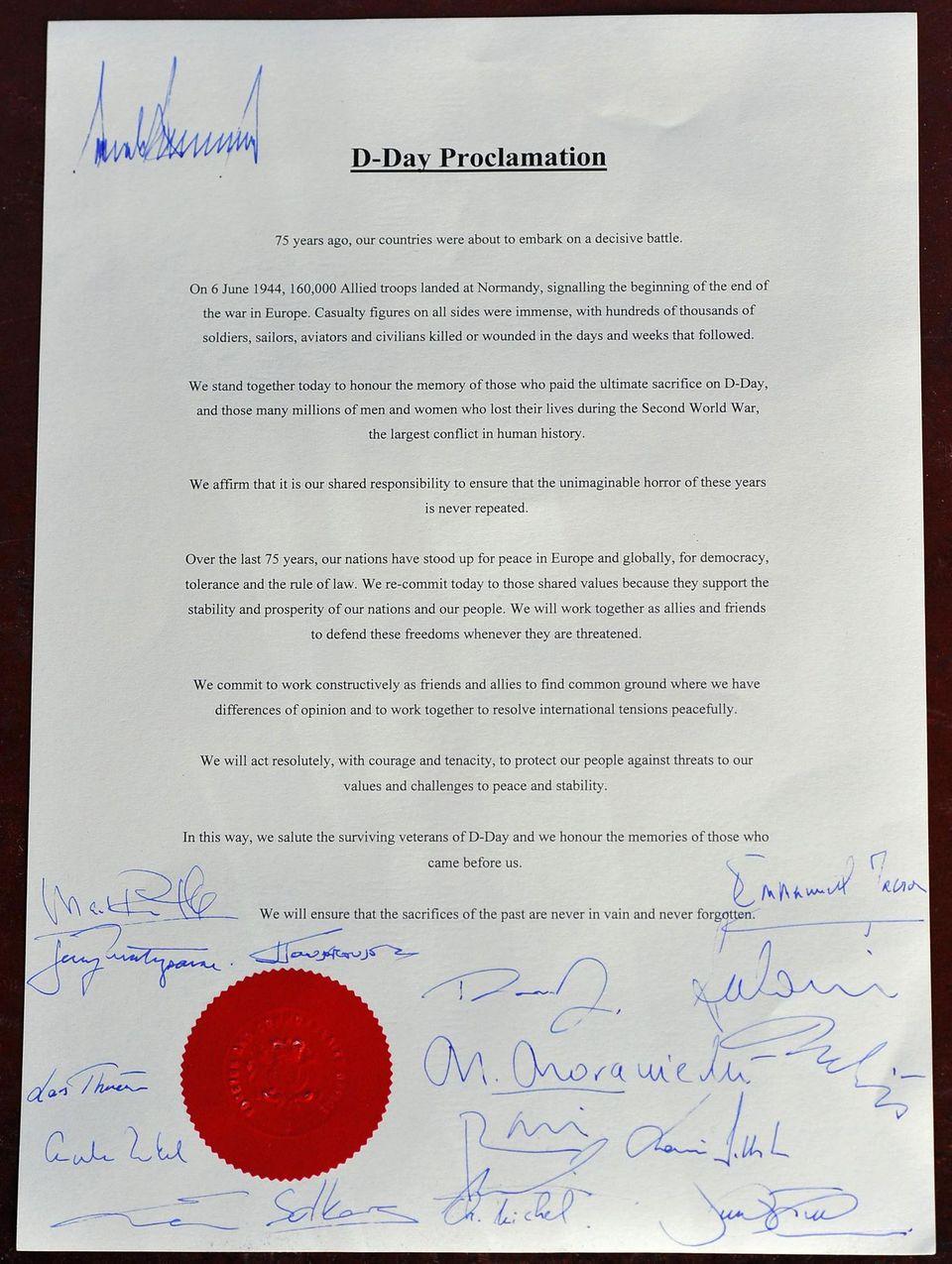 Die Erklärung von 16 Staats- und Regierungschefs zum D-Day
