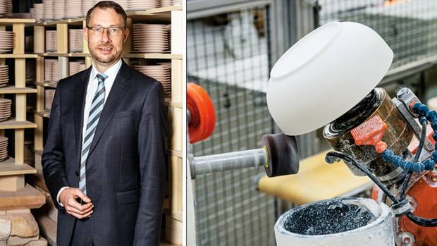 Kahla boss Holger Raithel relies on the combination of manual work and automation. Whether modern square or traditionally round - the cleaning robot can process almost any design fully automatically.