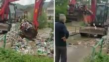 Serbien: Bagger schaufelt Müll aus Fluss in Fluss zurück