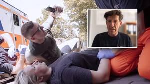 Gaffer macht Selfie mit verletzter Person (gestellt)