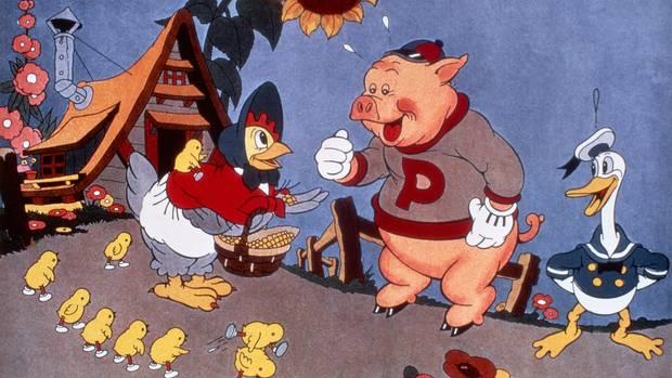 """Donald Duck (l.) in seinem ersten Film """"The Wise Little Hen"""""""