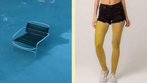 Stuhl unter Wasser und Frau mit gelben Beinen
