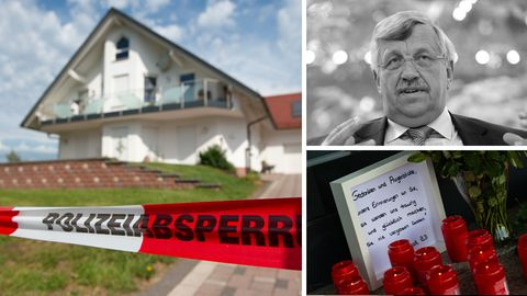 Tatort in Wolfhagen-Istha mit Polizeiabsperrung, der erschossenen Regierungspräsidenten Walter Lübcke, Abschiedsbrief und Kerzen
