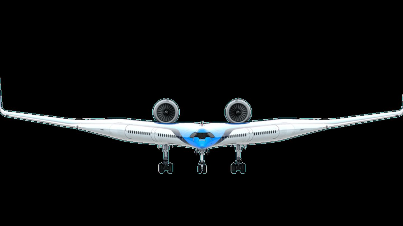 In der Voderansicht erkennt man die Nähe zu anderen Nurflüglern wie der B-2 Spirit-