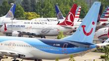 Nicht ausgelieferte Boeing 737 MAX auf demKing County International Airport in Seattle