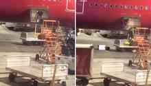 Gepäckabfertiger schleudert Koffer rücksichtslos aus einem Flugzeug in Los Angeles