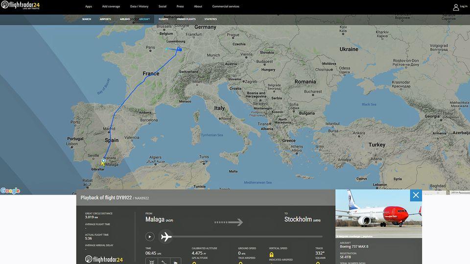Die Route des Fluges DY8922 von Malaga nach Stockholm endet vor demdeutschen Luftraum bei Saarbrücken