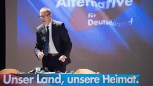 Sachsens AfD-Chef Jörg Urban freut sich über den großen Zuspruch durch die Wähler