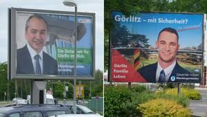 Wahlplakate in Görlitz: Der CDU-Kandidat Octavian Ursu (l.) und der AfD-Bewerber Sebastian Wippel