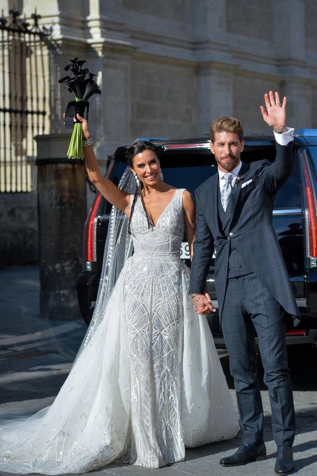 Nach der Trauung posierten Sergio Ramos und Pilar Rubio