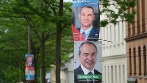 Die Oberbürgermeisterkandidaten von Görlitz Sebastian Wippel (AfD) und Octavian Ursu (CDU)
