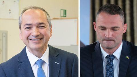 Der neue Görlitzer Oberbürgermeister Octavian Ursu (CDU, l.) und sein Kontrahent Sebastian Wippel (AfD)