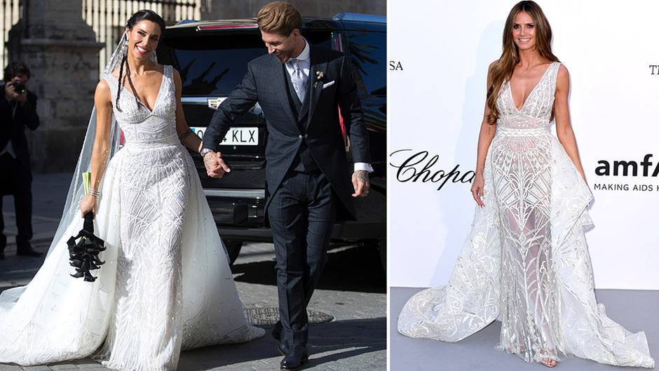 Pilar Rubio und Heidi Klum tragen das gleiche Kleid