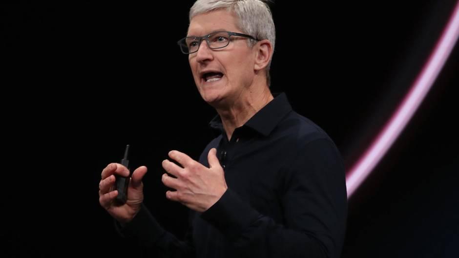 Apple-Chef Tim Cook während der Eröffnungs-Keynote der WWDC
