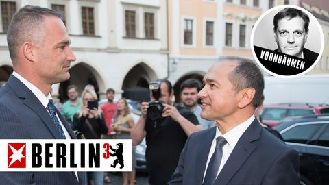 Die Oberbürgermeisterkandidaten für Görlitz, Sebastian Wippel (AfD) und Octavian Ursu (CDU)