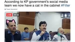 Pakistan: Minister mit Katzenfilter auf Pressekonferenz