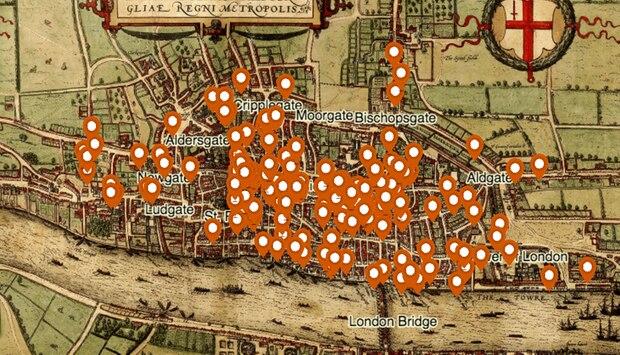 An diesen Orten wurden im mittelalterlichen London Morde verübt.