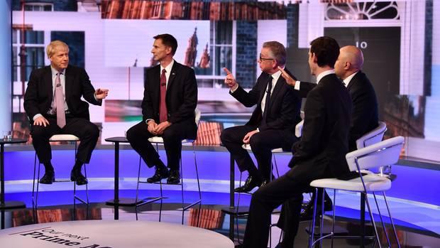 Die Teilnehmer der TV-Debatte (v.l. n.r.): Boris Johnson, Jeremy Hunt, Michael Gove, Sajid Javid, Rory Stewart