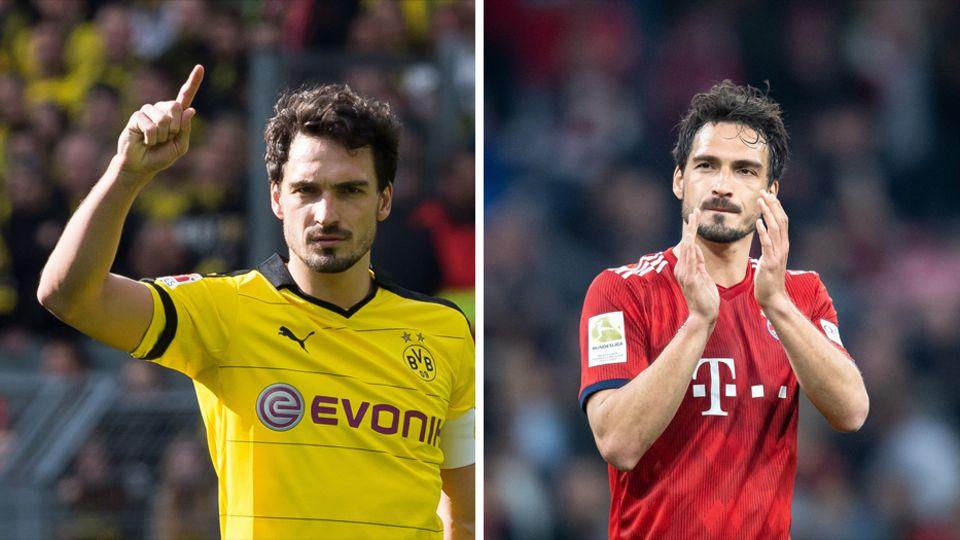 Links steht Mats Hummels im schwarz-gelben BVB-Trikot auf dem Platz, rechts im roten Trikot des FC Bayern München