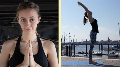 Collage: Eine Frau mit aneinander gelegten Händen; Eine Frau in Yoga-Pose, im Hintergrund sieht man einen Hafen
