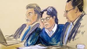 """Gerichtszeichnung des Angeklagten - """"Guru"""" des Sexhandels schuldig gesprochen"""
