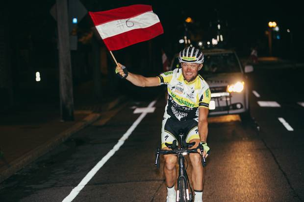 Christoph Strasser celebrates his sixth victory in the Race Across America