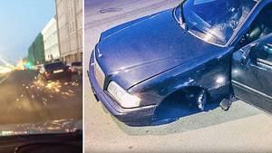 Russland: Mercedes-Fahrer versucht auf drei Rädern vor Polizei zu flüchten