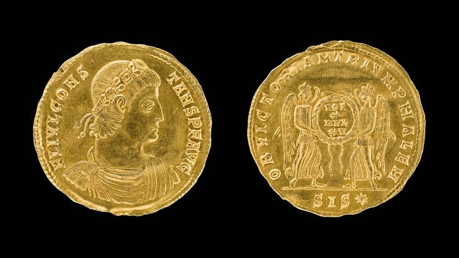 Die im Landkreis Stade gefundene Goldmünze