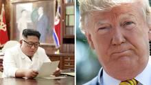 Der nordkoreanische Führer Kim Jong Un liest einen Brief von US-Präsident Donald Trump