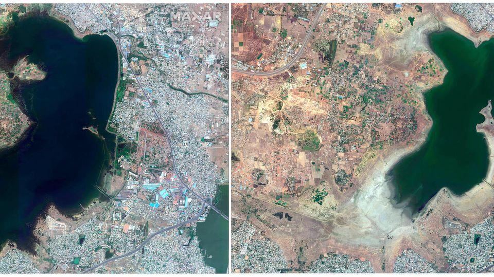 Diese Satellitenbilder vonaus den Jahren 2015 (l.) und 2019 zeigen den Puzhal-Stausee in Chennai vor und während der anhaltenden Dürre in der Region.