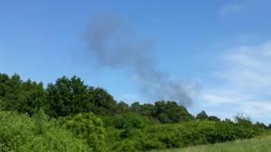Rauchwolke über einem Waldsturz nach dem Absturz zweier Eurofighter nahe dem Fleesensee