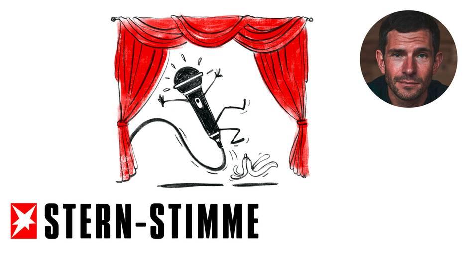 Eine Zeichnung zeigt ein Mikrofon, welches Arme und Beine besitzt, und auf einer Bühne auf einer Bananenschale ausrutscht.